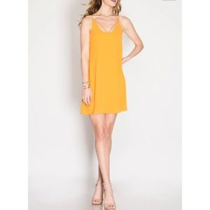 Cut out neckline yellow slip cami swing dress